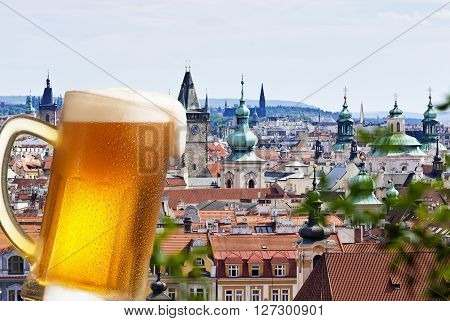 Beer with Prague in the background composite image