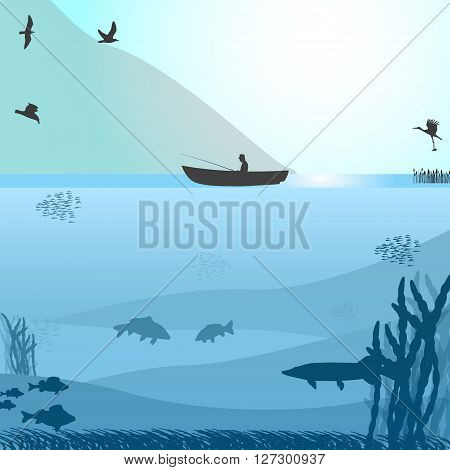 Vector illustration of a silhouette of a fisherman in a boat on a wild lake. Blue background. Fishing on the wild lake.