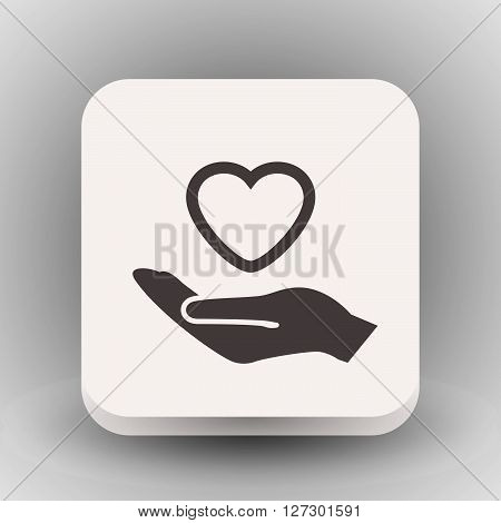 Pictograph of heart in hand. Vector concept illustration for design. Eps 10