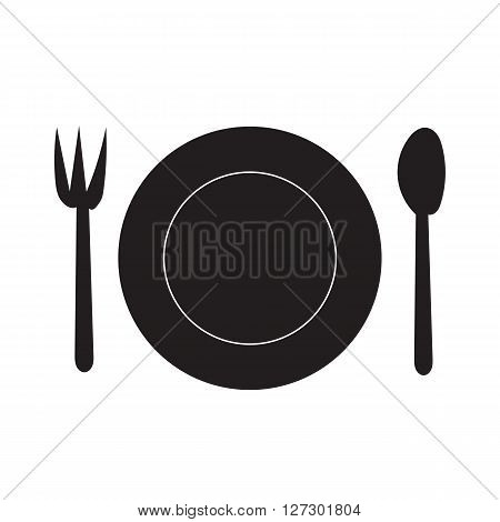 Fork Spoon and Dish silhouette icon on white background