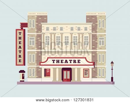 Theater building design flat. Urban facade art house, culture historic construction. Vector illustration