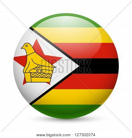 Flag of Zimbabwe as round glossy icon. Button with Zimbabwean flag
