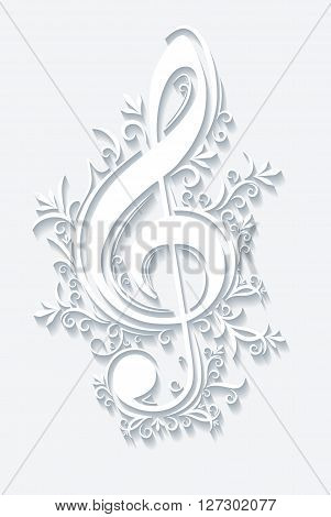 Abstract vector musical background with treble clef.