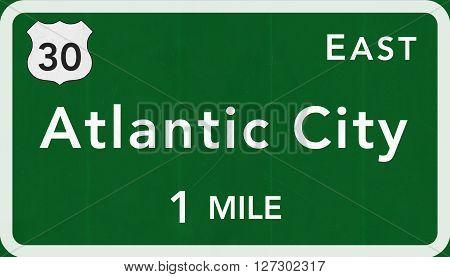 Atlantic City Usa Interstate Highway Sign