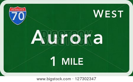 Aurora Usa Interstate Highway Sign