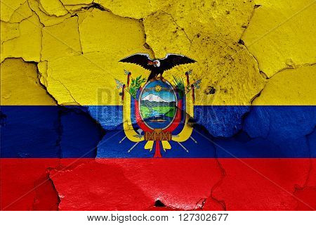 flag of Ecuador painted on cracked wall