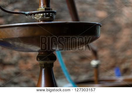 Rum distillery in Manufacture in Cambodia, horizontal macro view