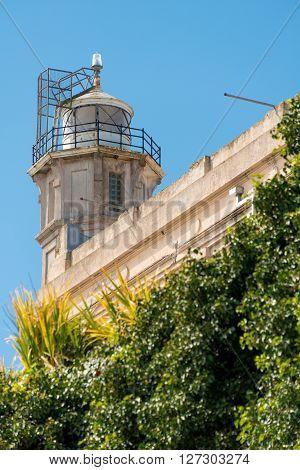 San Francisco, CA, May 13 2015: Alcatraz penitentiary exterior lighthouse
