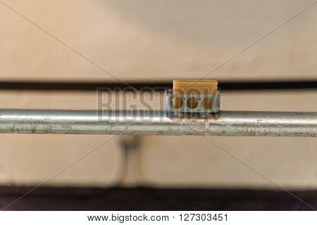 San Francisco, CA, May 13 2015: Alcatraz penitentiary interior - shower soap dish
