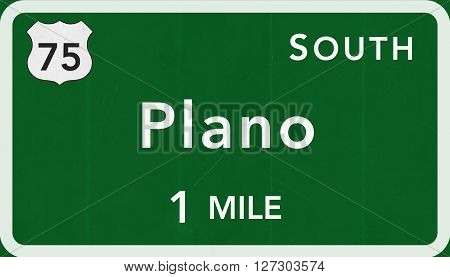 Plano Usa Interstate Highway Sign