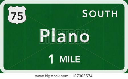Plano Usa Interstate Highway Sign