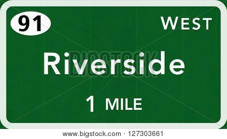 Riverside Usa Interstate Highway Sign