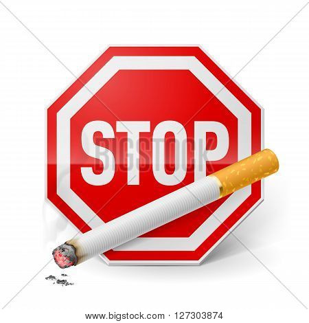 Red stop sign with cigarette as appeal of give up smoking