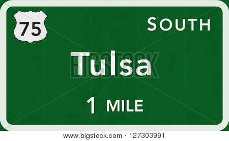Tulsa Usa Interstate Highway Sign
