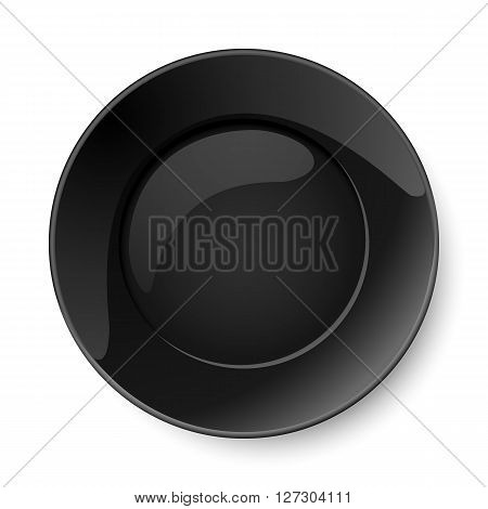 Illustration of empty round black plate isolated on white background