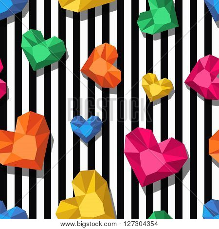 Vector Seamless Pattern. Multicolor Jewel, Gems In Heart Shape On Black, White Stripes