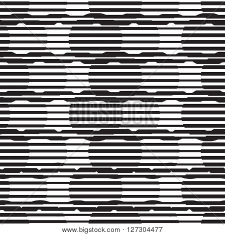 Vector geometric seamless pattern. Repeating abstract circle gradation pattern in black and white. Modern texture, pattern design