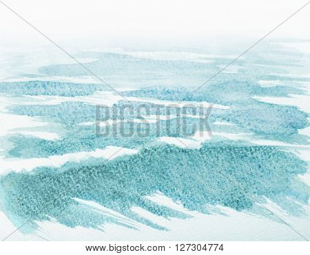 watercolor abstract illustration of ocean water waves