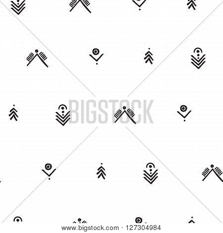 Vector seamless pattern. Universal summer hawaiian flowers, aztec arrows in black and white. Modern design, wallpaper, wrapping paper, tourism