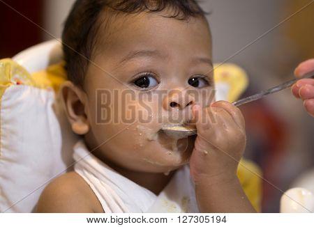 Asian Baby Boy Eat Food Sloppy