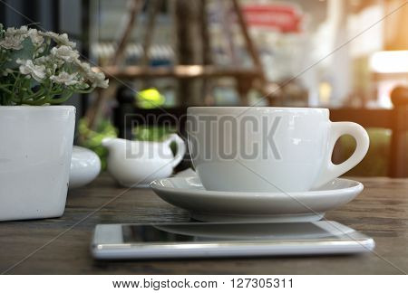 A Cup Of Americano Coffee In Coffee Shop