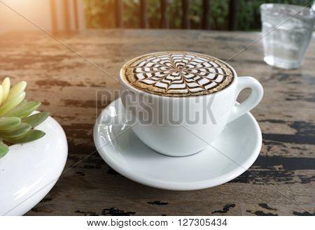 Cups Of Mocha Coffee On Table