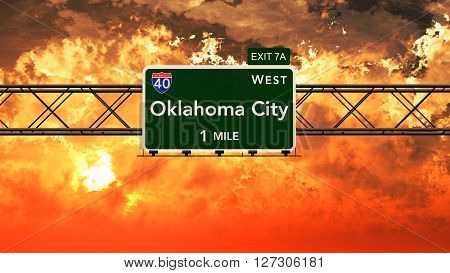 Usa Interstate Highway Sign In A Beautiful Cloudy Sunset Sunrise