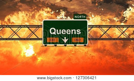 Queens Usa Interstate Highway Sign In A Beautiful Cloudy Sunset Sunrise