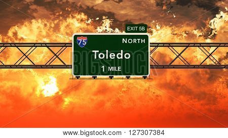 Toledo Usa Interstate Highway Sign In A Beautiful Cloudy Sunset Sunrise