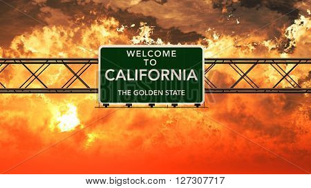 Welcome To California Usa Interstate Highway Sign In A Breathtaking Cloudy Sunset