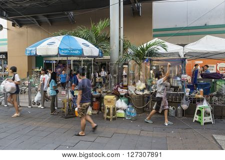 BANGKOK THAILAND - jan 23 : street food stall at Tescolotus mall near BTS on nut station on january 23 2016 thailand. there are many street food stall everywhere in bangkok