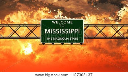 Welcome To Mississippi Usa Interstate Highway Sign In A Breathtaking Cloudy Sunset