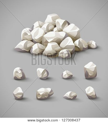 Set of separate rocks and stones pile vector illustration, eps10 icons set
