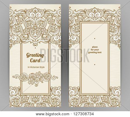 Vintage Ornate Cards In Victorian Style.