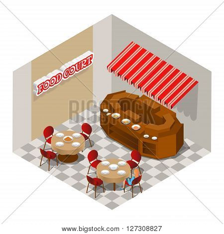 Food court. Vector isometric illustration. EPS 10