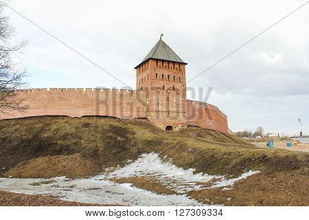 Veliky Novgorod, Russia - March 12, Tower of the Kremlin's Palace, March 12, 2016. Types of towers and walls of Kremlin in Veliky Novgorod.