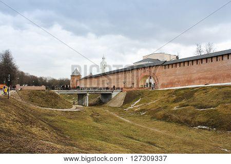 Veliky Novgorod, Russia - March 12,  West Bridge Kremlin, March 12, 2016. Types of towers and walls of Kremlin in Veliky Novgorod.