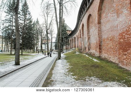 Veliky Novgorod, Russia - March 12, City walls of the Kremlin, March 12, 2016. Buildings and monuments in the territory of the Novgorod Kremlin.