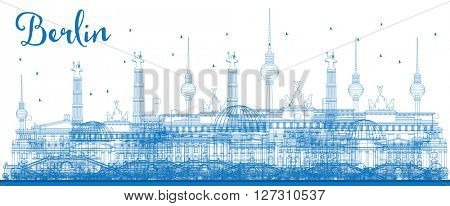 Outline Berlin skyline with blue buildings. Vector illustration. Business and tourism concept with place for text. Image for presentation, banner, placard and web site