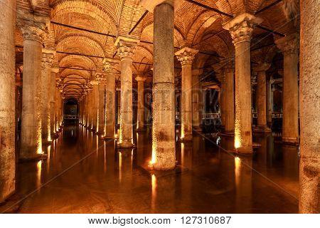 Main hall of the Basilica Cistern (Istanbul Turkey)