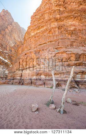 Mouth of Khazali Canyon in Wadi Rum (Jordan)