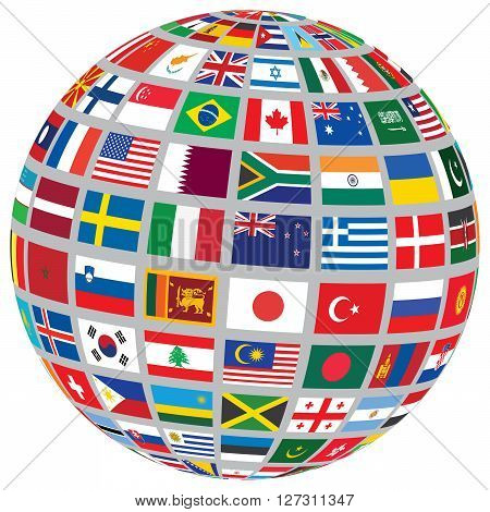 sphere with world flags isolated on white vector illustration
