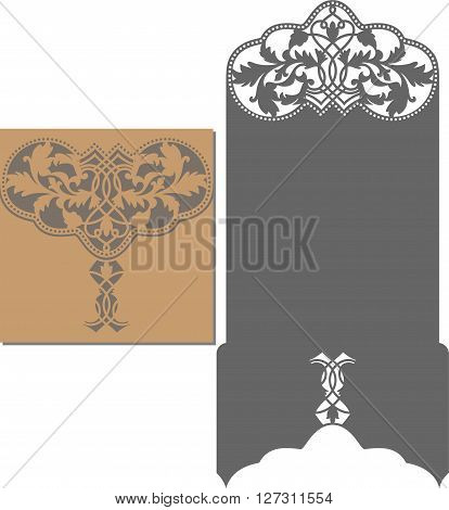 Paper cut out card. Laser cut pattern for invitation card for wedding. Wedding invitation envelope template.