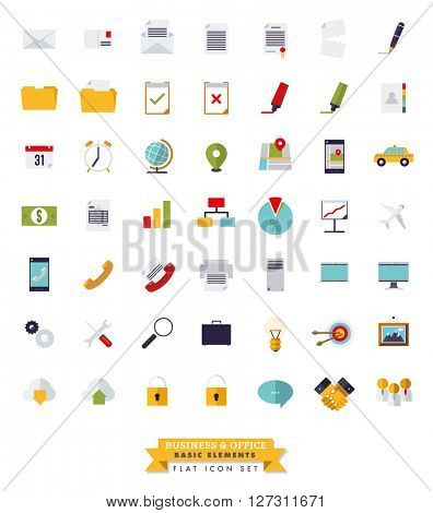 Flat design basic business and office isolated icons collection