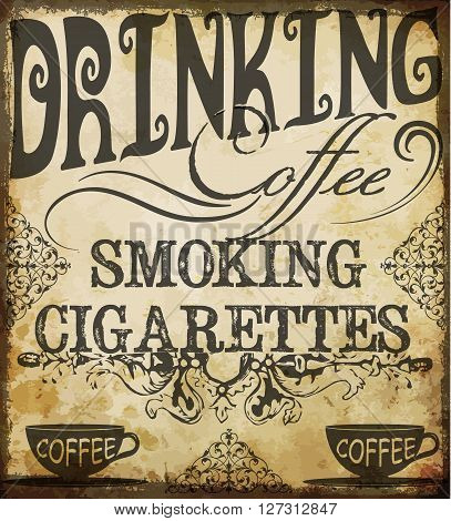 Poster lettering the coffee break time fashion style