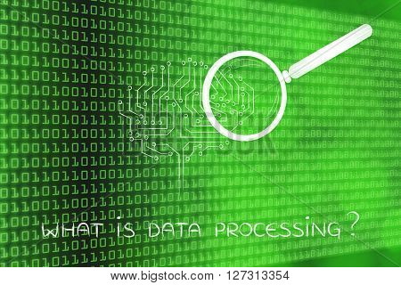 Electronic Brain With Magnifying Glass, What Is Data Processing
