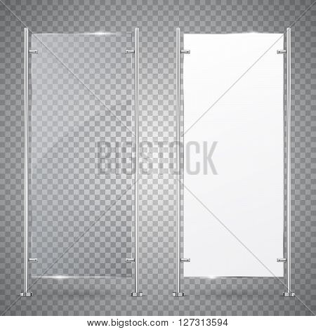 3d Advertising Stand Banner. Vector  Illustration Isolated On Transparent Background. Mock-up template for designers. Vector EPS10