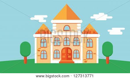 Flat classic medieval castle vector building with tile roof and green tree around. sky vector cloud and grass on the background