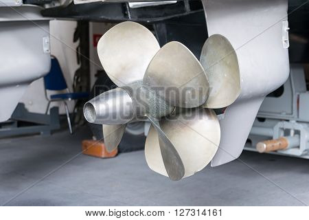 Propeller of a boat,  ship, screw, prop, motorboat, bladed,