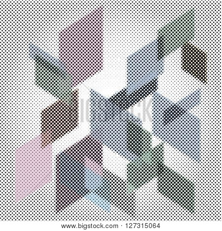 vector 3d abstract composition with squares in dotted halftone raster